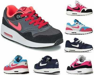 BOYS GIRLS NIKE AIR MAX 1 TD PS NAVY DARK GREY PINK KIDS TRAINERS UK 1.5 - 2