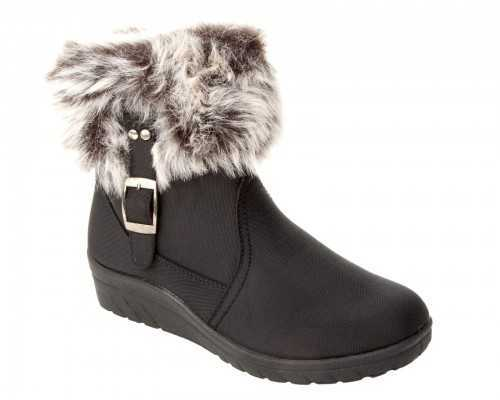 DR KELLER FAUX FUR WARM ANKLE BOOTS BLACK