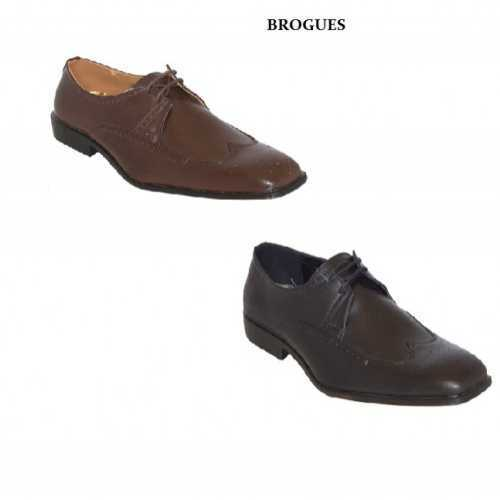 MENS BLACK OR BROWN LACE UP BROGUE STYLE SHOES # Mens Shoes