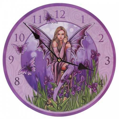 Picture Wall Clock - Faerie with Irises by Lisa Parker