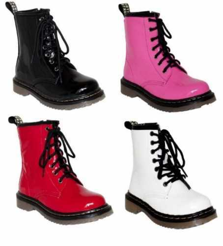 Girls Ladies Womens Black Pink White Or Red Patent Funky Dr Marten s # Boots