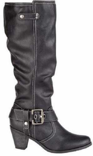 LEATHER LINED KNEE LENGTH BUCKLE RIDING BOOT BLACK
