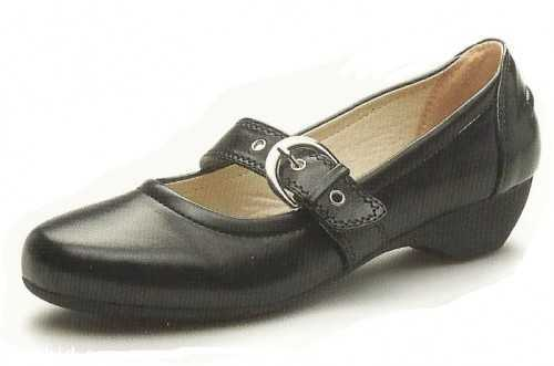 Ladies Black Mary Jane Buckle Strap Court Shoe