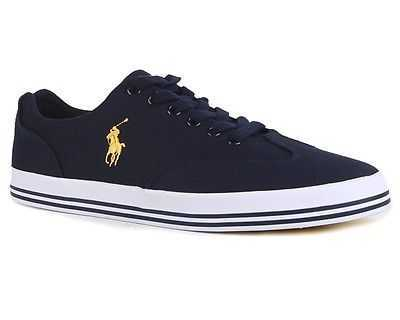 AUTHENTIC POLO RALPH LAUREN HADEN NAVY CANVAS TRAINERS SIZES UK 6 - 12