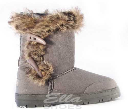 ELLA ANKLE TOGGLE VEGAN SUEDE FUR WINTER BOOTS GREY