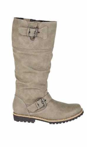 LEATHER LINED KNEE LENGTH RUGGED SOLE RIDING BOOTS TAUPE