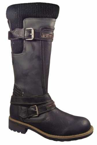 CALF LENGTH BUCKLE BIKER BOOTS BLACK
