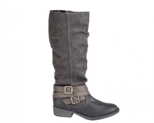 LEATHER LINED KNEE LENGTH BUCKLE RIDING BOOT BLACK /GREY