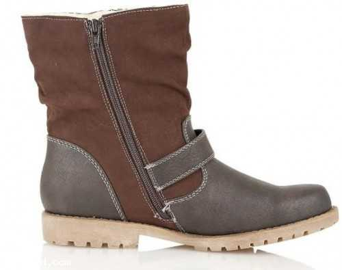 LOW HEEL VEGAN LEATHER BIKER ANKLE BOOTS BROWN