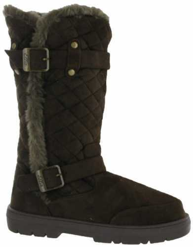 ELLA VEGAN SUEDE WARM BUCKLE QUILTED BOOTS BROWN