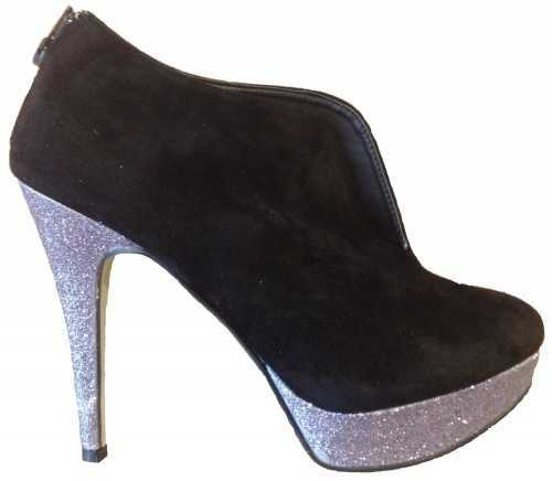 SHOE BOOTS HIGH HEELS BLACK GLITTER
