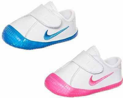 BOYS GIRLS NIKE WAFFLE 1 BABY CRIBS SHOES WHITE LEATHER TRAINERS UK 0 - 4