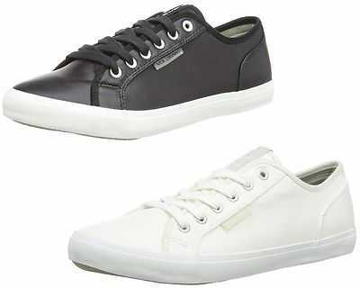 MENS VOI JEANS CHROME PU PLIMSOLE BLACK WHITE TRAINERS