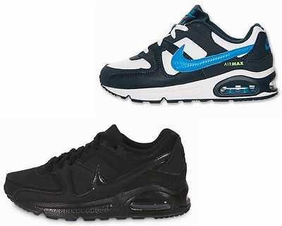 BOYS GIRLS NIKE AIR MAX COMMAND BLACK WHITE KIDS TRAINERS UK 10 - 2