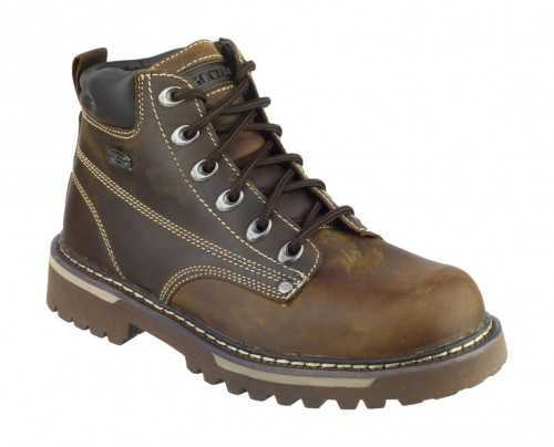 SKECHERS SK4479 LEATHER LACE UP CASUAL BOOT BROWN