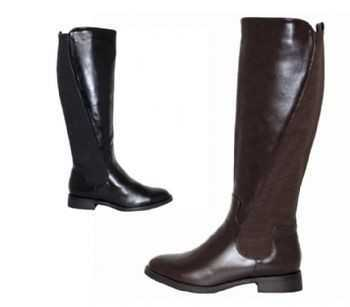 TALL BOOTS ELASTIC PANEL BLACK, BROWN