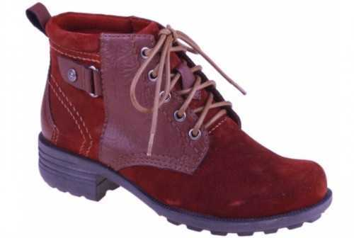 EARTH SPIRIT SUEDE LEATHER CASUAL ANKLE BOOT SCARLET
