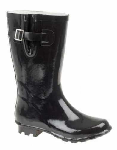 WINTER FESTIVAL RUBBER WIDE FIT WELLINGTON BOOTS BLACK # wellies