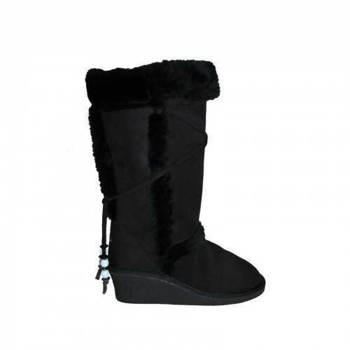 ELLA TALL WEDGE BOOTS BLACK