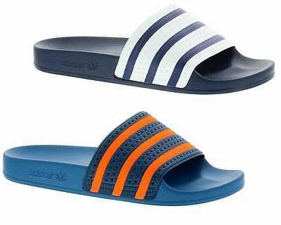 ADIDAS ORIGINALS ADILETTE FLIP FLOPS SANDALS BEACH SHOES NAVY BLUE UK 6-12