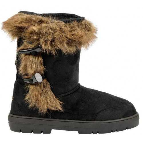 ELLA ANKLE TOGGLE VEGAN SUEDE FUR WINTER BOOTS BLACK