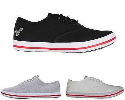 MENS VOI JEANS FIERY PLIMSOLE CANVAS TRAINERS GREY BLACK WHITE SHOES