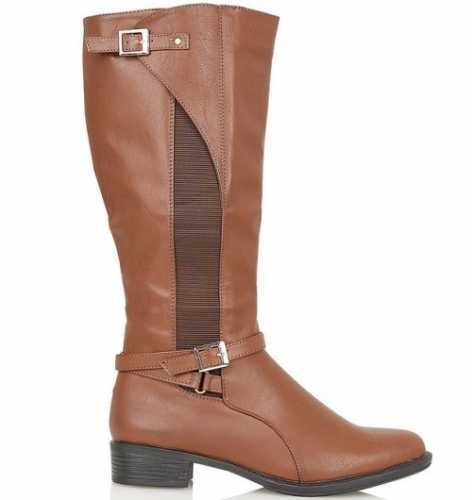 LEATHER LINED KNEE LENGTH ELASTIC PANEL RIDING BOOT TAN