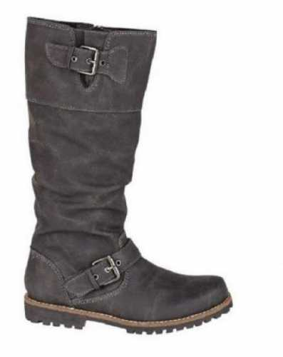 LEATHER LINED KNEE LENGTH RUGGED SOLE RIDING BOOTS BLACK