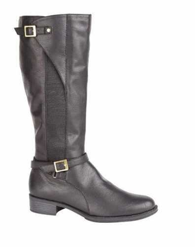 LEATHER LINED KNEE LENGTH ELASTIC PANEL RIDING BOOT BLACK