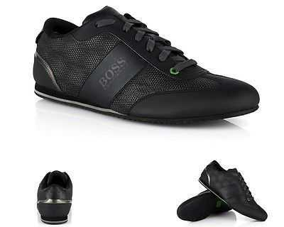 MENS ORIGINAL HUGO BOSS GREEN LIGHTER INFLUENCE BLACK TRAINERS SIZES UK 6 - 11