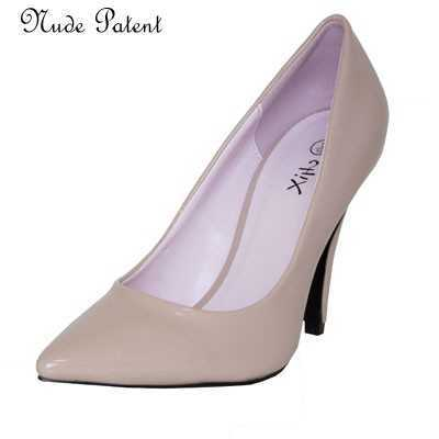 LADIES NUDE PATENT MED HEEL POINTED TOE COURT SHOES # Heels