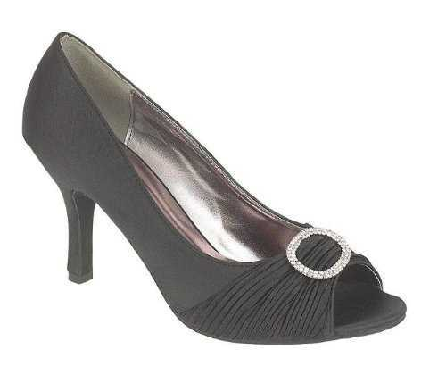 SATIN EVENING PEEP TOE COURT SHOES BLACK # Heels