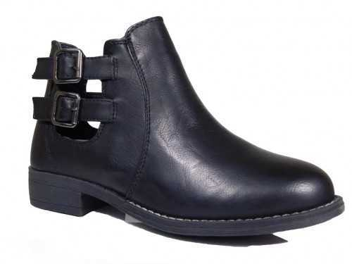 CUT OUT CHELSEA BUCKLE ANKLE BOOTS BLACK