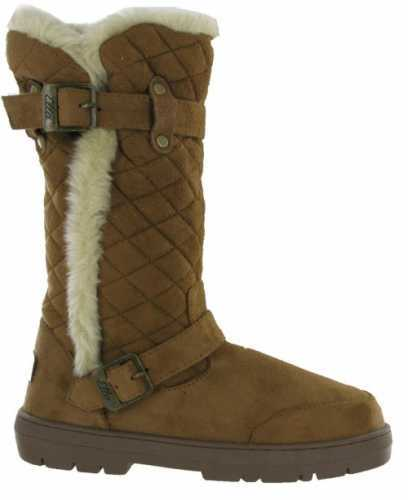 ELLA VEGAN SUEDE WARM BUCKLE QUILTED BOOTS CHESTNUT