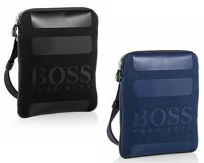 HUGO BOSS GREEN TRISKO NYLON POUCH SHOULDER MAN BAG BLACK BLUE