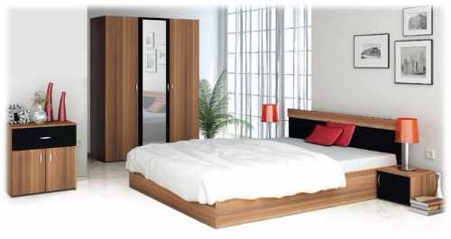Complete bedroom furniture, bed, wardrobe, bedside units