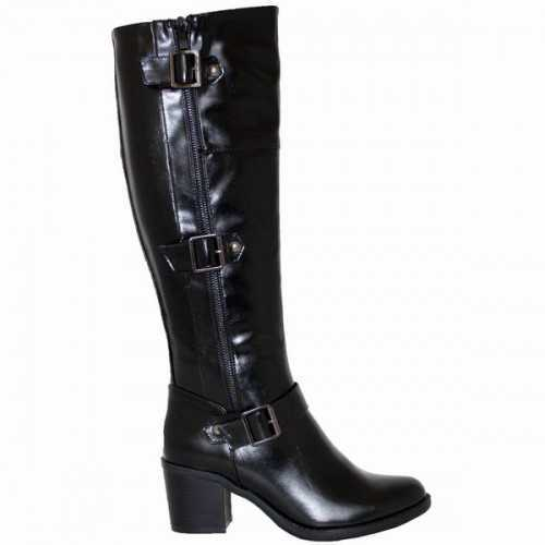 TALL BLOCK HEEL BOOTS BLACK