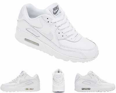 BOYS GIRLS NIKE AIR MAX 90 GS 724821 100 WHITE LEATHER LADIES TRAINERS UK 3 - 6