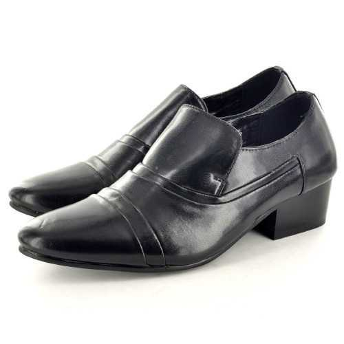 Mens Black Cuban Heel Slip On Leather Style Shoes # Mens Shoes