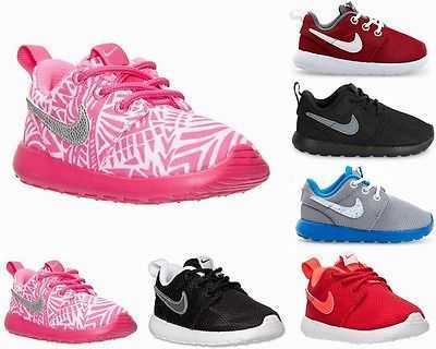 GIRLS BOYS NIKE ROSHERUN PS TD BLACK RED PINK ROSHE ONE TRAINERS UK 3 - 13