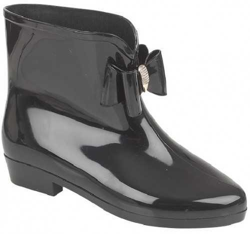 ANKLE DIAMANTE BOW WELLINGTON BOOTS BLACK