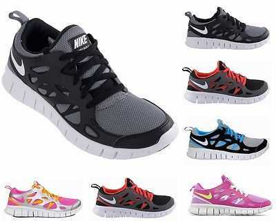 BOYS GIRLS NIKE FREE RUN 2 GS GREY BLACK LADIES RUNNER TRAINERS UK 3-6