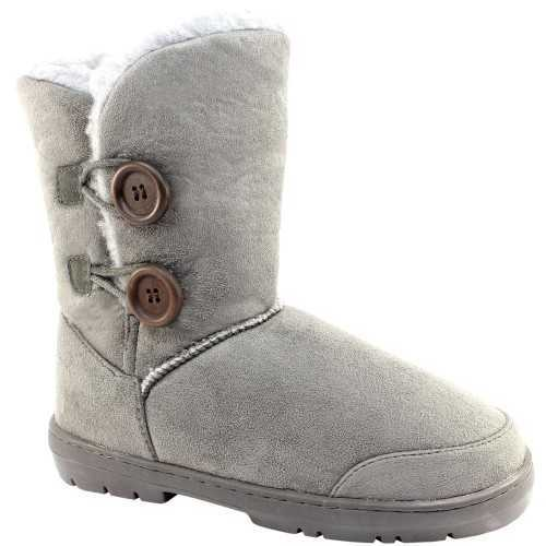 ELLA BUTTON FLAT WARM ANKLE BOOTS GREY