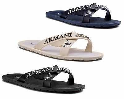ARMANI JEANS SANDALO 06597 RUBBER FLIP FLOPS BLACK NAVY SANDALS UK 6-12