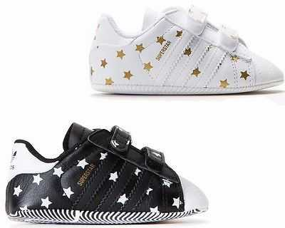 ADIDAS ORIGINALS SUPERSTAR CRIB BABY SHOES WHITE BLACK BOOTIES UK 0 - 4