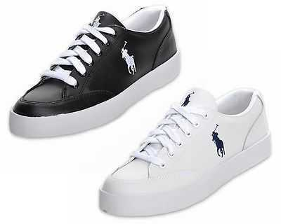 MENS RALPH LAUREN LATTON POLO WHITE BLACK LEATHER TRAINERS UK 11-14.5 RRP£90