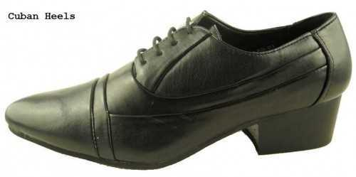 MENS NEW BLACK CLASSIC LACE-UP SHOES CUBAN HEEL SHOES # Office Shoes
