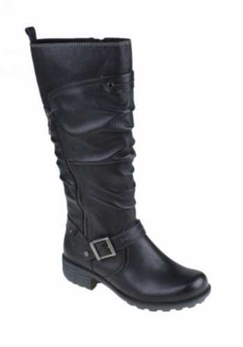 EARTH SPIRIT TALL LEATHER ZIP BOOTS BLACK