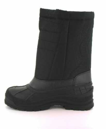 Mens Black Velcro Hook and Loop Padded Winter Mucker Snow Boot # Mens Boots