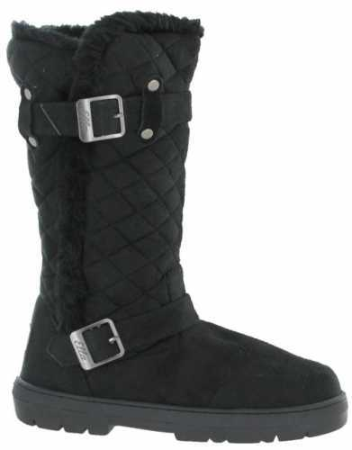 ELLA VEGAN SUEDE WARM BUCKLE QUILTED BOOTS BLACK